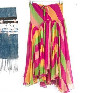 Diane von Furstenberg Colorful 100% Silk Skirt 2
